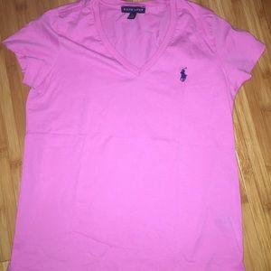 Ralph Lauren pink v neck shirt small
